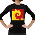 Flower Blossom Spiral Design  Red Yellow Women s Long Sleeve Dark T-Shirts Front