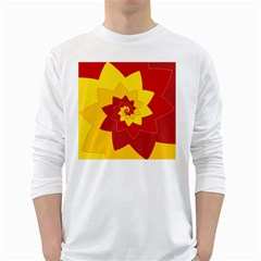 Flower Blossom Spiral Design  Red Yellow White Long Sleeve T-Shirts