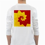 Flower Blossom Spiral Design  Red Yellow White Long Sleeve T-Shirts Back