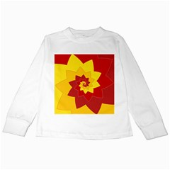 Flower Blossom Spiral Design  Red Yellow Kids Long Sleeve T Shirts
