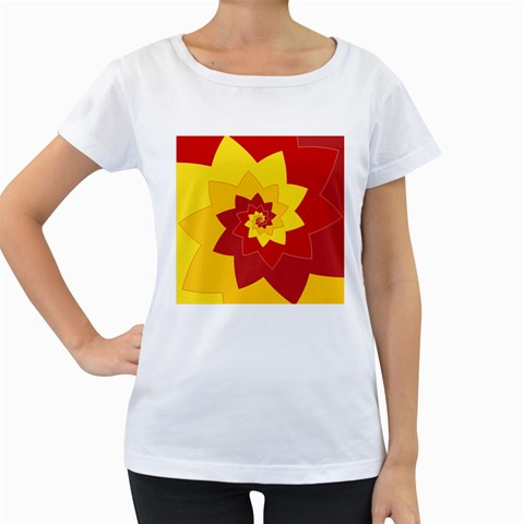 Flower Blossom Spiral Design  Red Yellow Women s Loose-Fit T-Shirt (White)