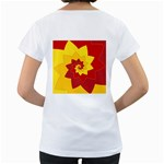 Flower Blossom Spiral Design  Red Yellow Women s Loose-Fit T-Shirt (White) Back