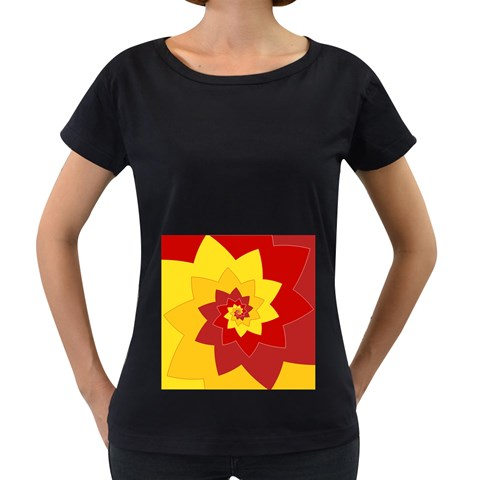 Flower Blossom Spiral Design  Red Yellow Women s Loose-Fit T-Shirt (Black)