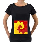 Flower Blossom Spiral Design  Red Yellow Women s Loose-Fit T-Shirt (Black) Front