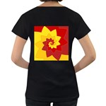 Flower Blossom Spiral Design  Red Yellow Women s Loose-Fit T-Shirt (Black) Back