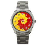 Flower Blossom Spiral Design  Red Yellow Sport Metal Watch Front