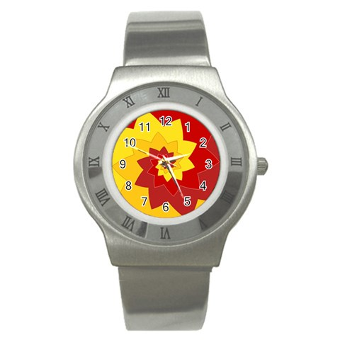Flower Blossom Spiral Design  Red Yellow Stainless Steel Watch