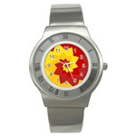 Flower Blossom Spiral Design  Red Yellow Stainless Steel Watch Front
