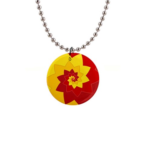 Flower Blossom Spiral Design  Red Yellow Button Necklaces