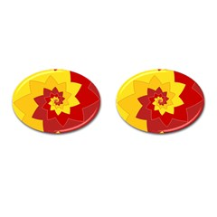 Flower Blossom Spiral Design  Red Yellow Cufflinks (oval)