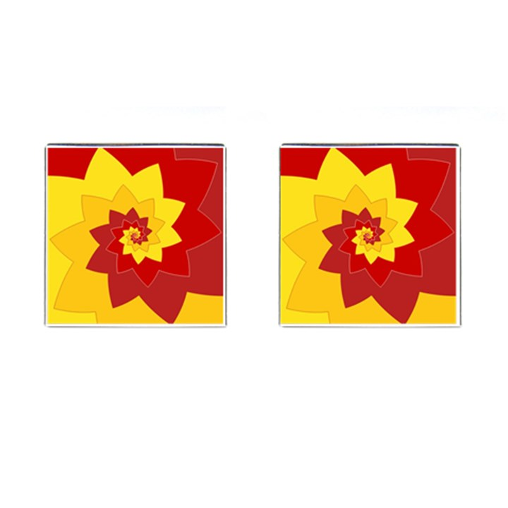 Flower Blossom Spiral Design  Red Yellow Cufflinks (Square)