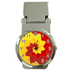 Flower Blossom Spiral Design  Red Yellow Money Clip Watches