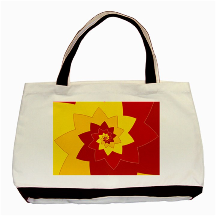 Flower Blossom Spiral Design  Red Yellow Basic Tote Bag