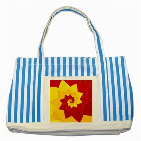 Flower Blossom Spiral Design  Red Yellow Striped Blue Tote Bag