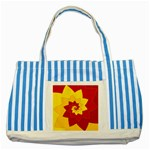 Flower Blossom Spiral Design  Red Yellow Striped Blue Tote Bag Front