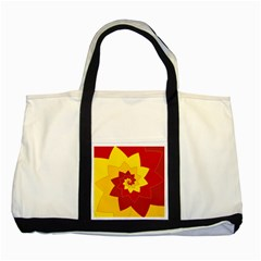 Flower Blossom Spiral Design  Red Yellow Two Tone Tote Bag