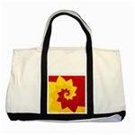 Flower Blossom Spiral Design  Red Yellow Two Tone Tote Bag Front