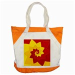 Flower Blossom Spiral Design  Red Yellow Accent Tote Bag Front