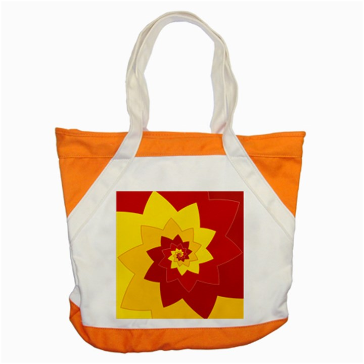 Flower Blossom Spiral Design  Red Yellow Accent Tote Bag
