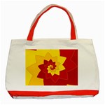 Flower Blossom Spiral Design  Red Yellow Classic Tote Bag (Red) Front