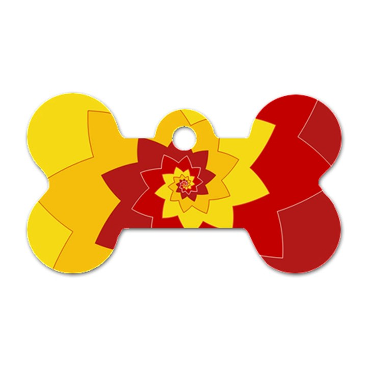Flower Blossom Spiral Design  Red Yellow Dog Tag Bone (Two Sides)