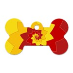 Flower Blossom Spiral Design  Red Yellow Dog Tag Bone (Two Sides) Back