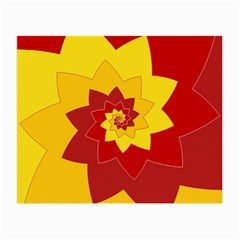 Flower Blossom Spiral Design  Red Yellow Small Glasses Cloth (2 Side)