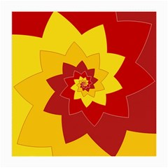Flower Blossom Spiral Design  Red Yellow Medium Glasses Cloth