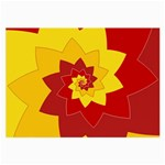 Flower Blossom Spiral Design  Red Yellow Large Glasses Cloth Front