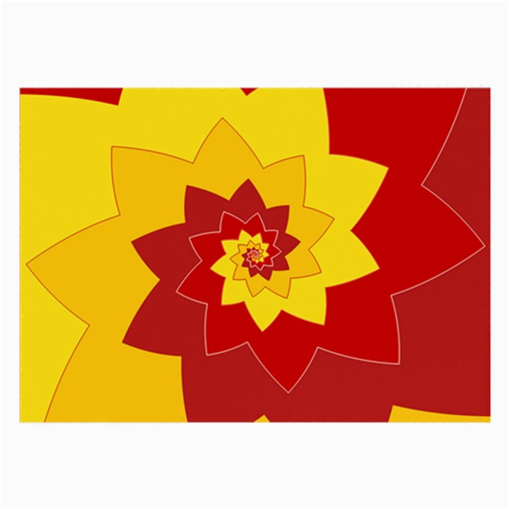 Flower Blossom Spiral Design  Red Yellow Large Glasses Cloth (2-Side)