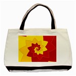 Flower Blossom Spiral Design  Red Yellow Basic Tote Bag (Two Sides) Back