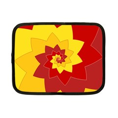 Flower Blossom Spiral Design  Red Yellow Netbook Case (Small)