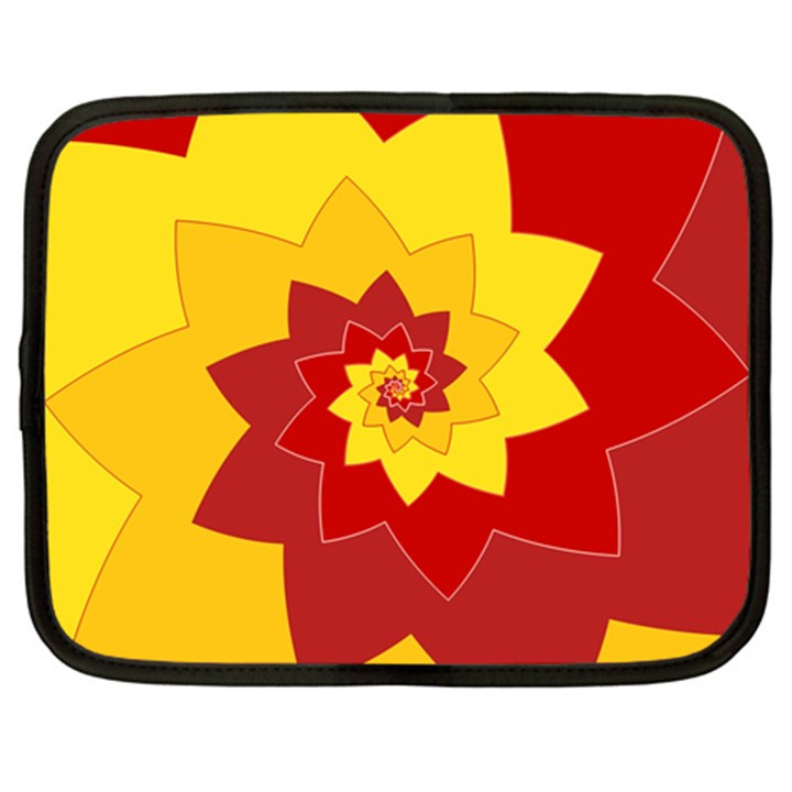 Flower Blossom Spiral Design  Red Yellow Netbook Case (Large)