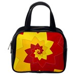 Flower Blossom Spiral Design  Red Yellow Classic Handbags (One Side) Front