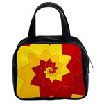 Flower Blossom Spiral Design  Red Yellow Classic Handbags (2 Sides) Front