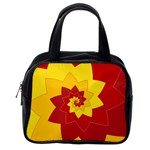 Flower Blossom Spiral Design  Red Yellow Classic Handbags (2 Sides) Back
