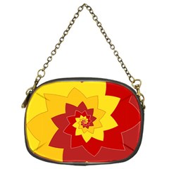 Flower Blossom Spiral Design  Red Yellow Chain Purses (One Side)