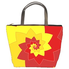 Flower Blossom Spiral Design  Red Yellow Bucket Bags