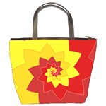 Flower Blossom Spiral Design  Red Yellow Bucket Bags Back