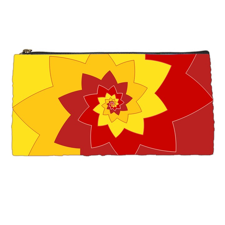 Flower Blossom Spiral Design  Red Yellow Pencil Cases