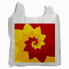 Flower Blossom Spiral Design  Red Yellow Recycle Bag (One Side)