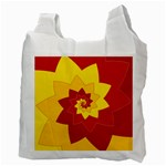 Flower Blossom Spiral Design  Red Yellow Recycle Bag (Two Side)  Back