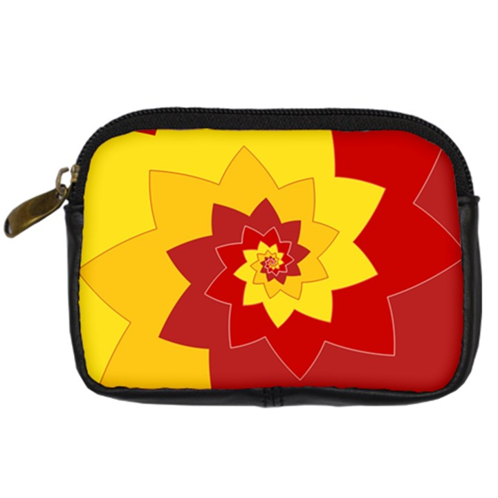 Flower Blossom Spiral Design  Red Yellow Digital Camera Cases