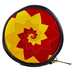 Flower Blossom Spiral Design  Red Yellow Mini Makeup Bags