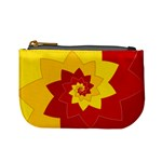 Flower Blossom Spiral Design  Red Yellow Mini Coin Purses Front