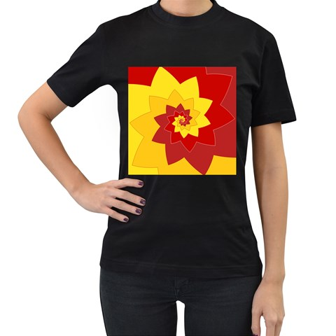 Flower Blossom Spiral Design  Red Yellow Women s T-Shirt (Black)