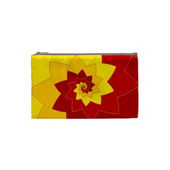Flower Blossom Spiral Design  Red Yellow Cosmetic Bag (small)