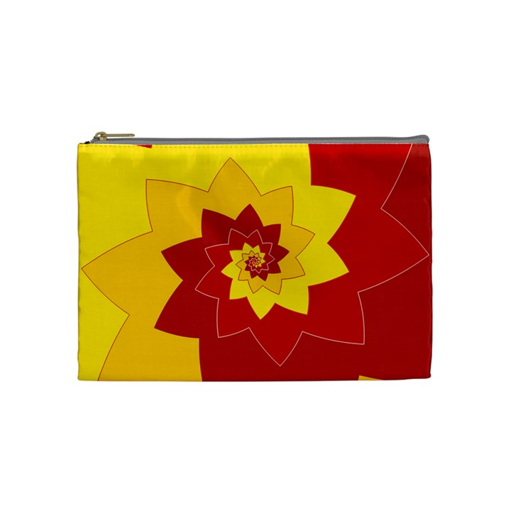 Flower Blossom Spiral Design  Red Yellow Cosmetic Bag (Medium)