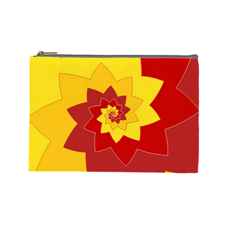Flower Blossom Spiral Design  Red Yellow Cosmetic Bag (Large)