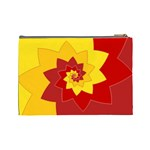 Flower Blossom Spiral Design  Red Yellow Cosmetic Bag (Large)  Back